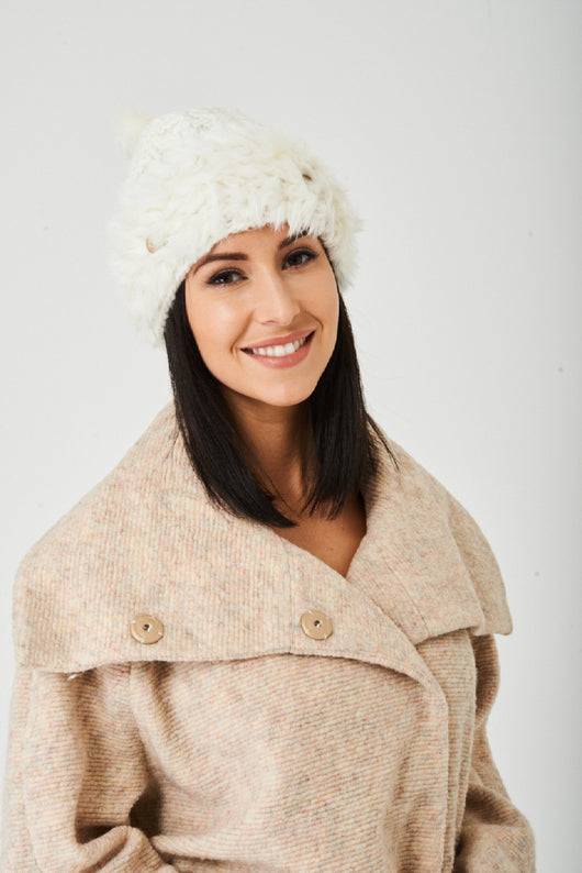 Pom Beanie in Cream-Fabulous Bargains Galore