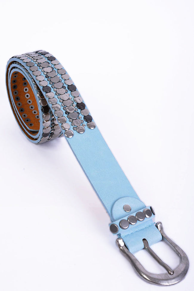 Studded Faux Leather Belt In Blue-Fabulous Bargains Galore
