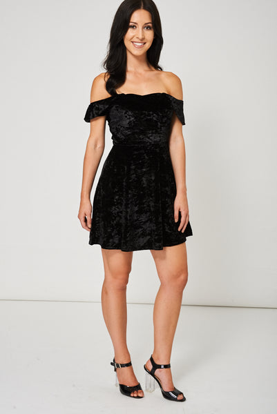 Off The Shoulder Velveteen Dress In Black Ex-Branded Available In Plus Sizes