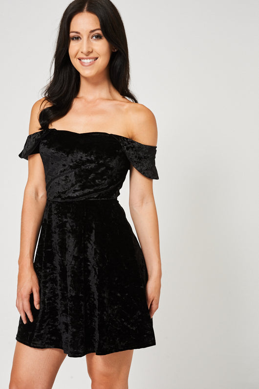 Crushed Velvet Off Shoulder Black Dress Ex Brand-Fabulous Bargains Galore
