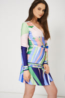 Multicolour Printed Wrap Dress - Fabulous Bargains Galore