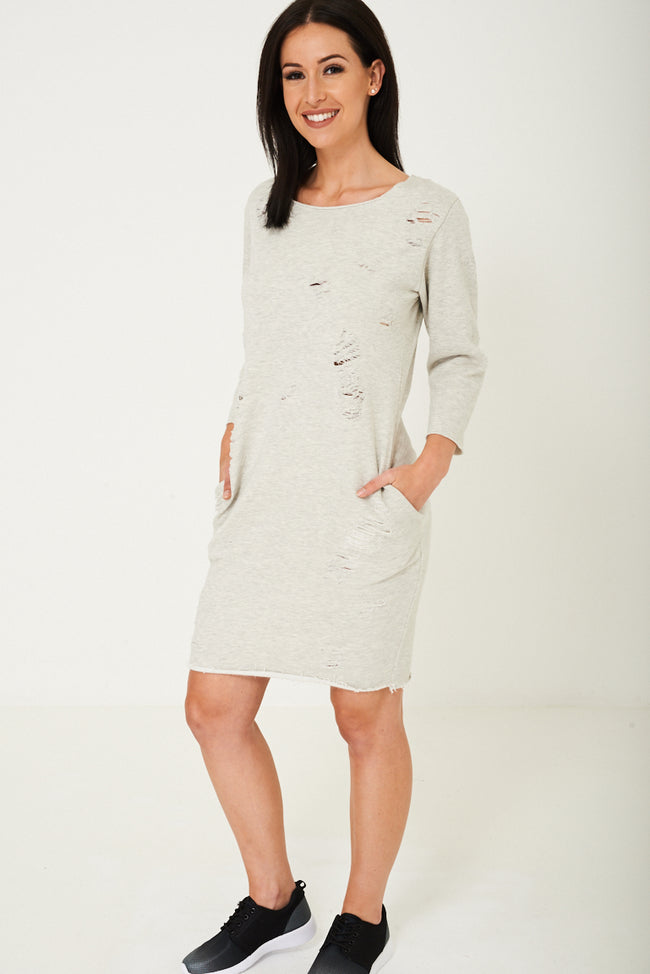 Grey Distressed Jumper Dress-Fabulous Bargains Galore