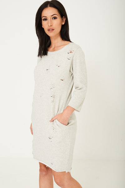 Grey Distressed Jumper Dress
