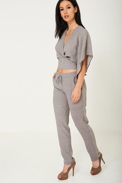 Mix and Match Printed Peg Leg Trousers