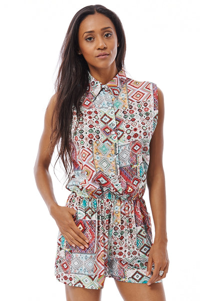 Tribal Print Playsuit