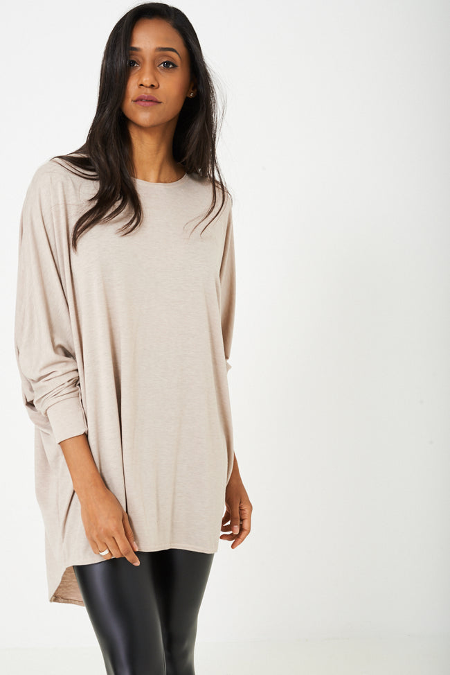 Oversized Tunic Top in Beige-Fabulous Bargains Galore