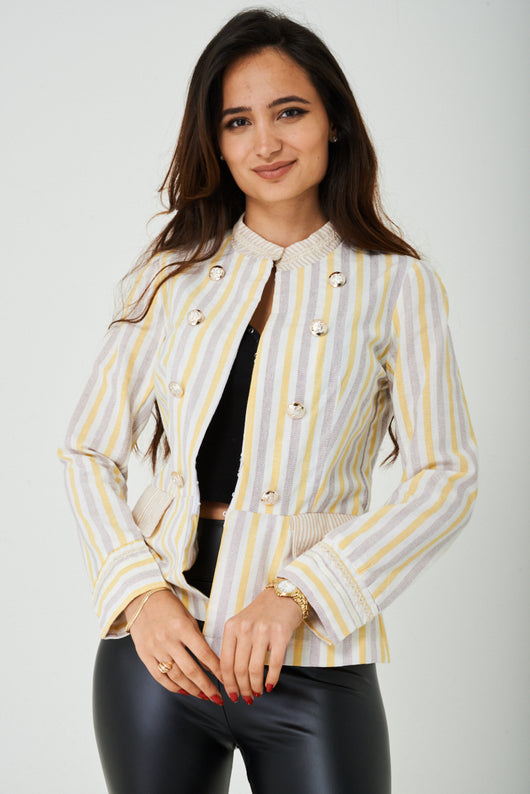 Round Neck Jacket in Stripes - Fabulous Bargains Galore