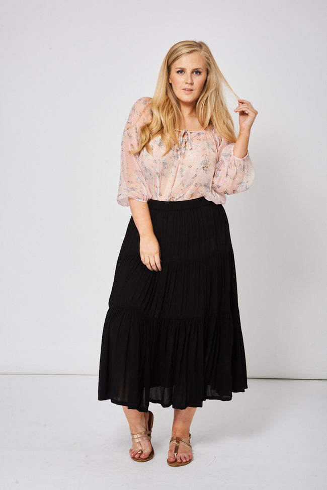 Summer Skirt In Black Ex-Branded-Fabulous Bargains Galore