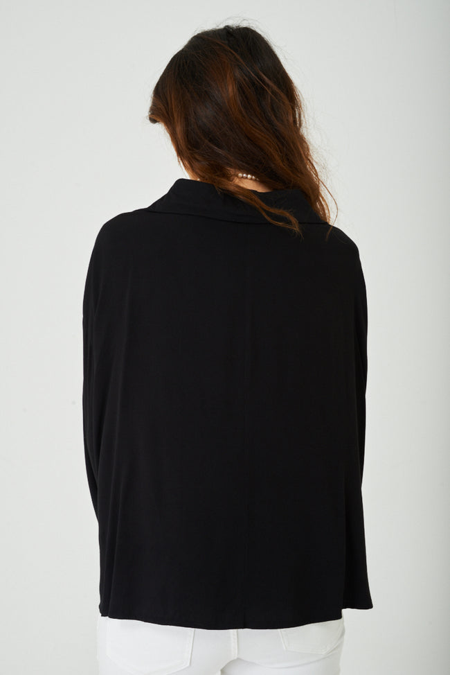 Oversized Wrap Front Top in Black-Fabulous Bargains Galore
