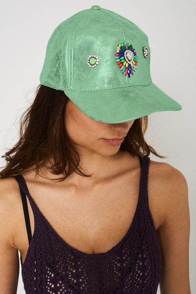 Embellished Cap in Metallic Green Finish