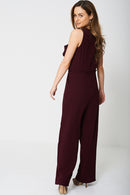Wide Leg Burgundy Jumpsuit Ex-Branded-Fabulous Bargains Galore