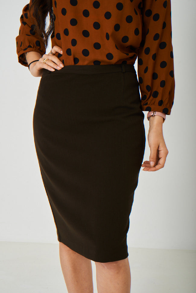 Brown Office Pencil Skirt-Fabulous Bargains Galore