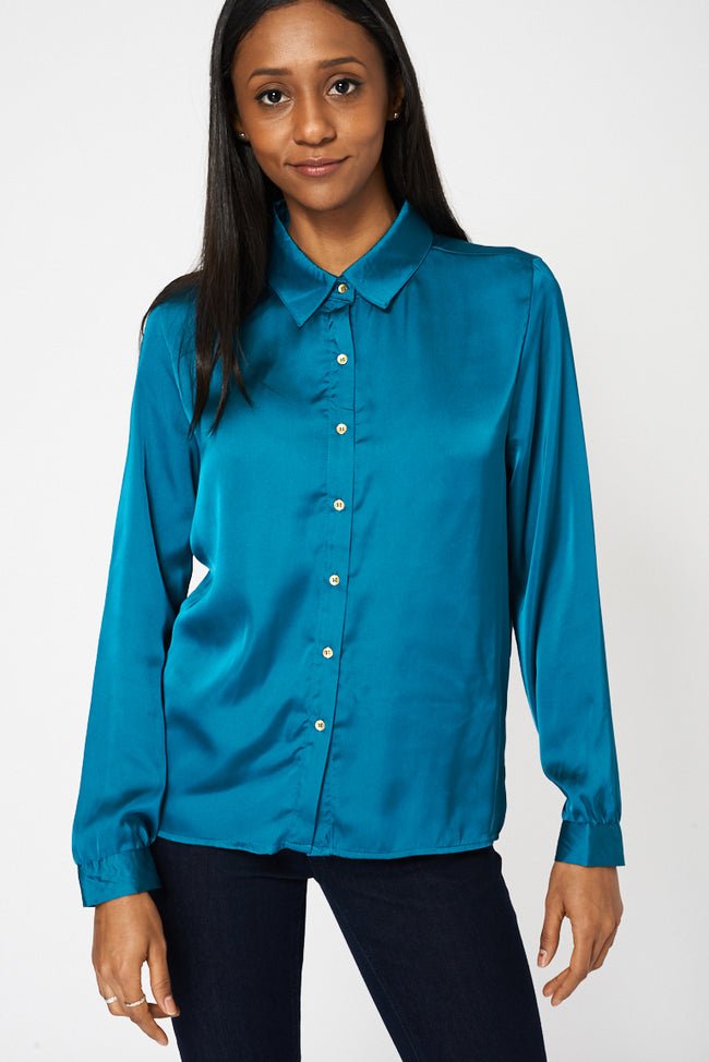 Teal Lightweight Shirt With Front Pockets-Fabulous Bargains Galore