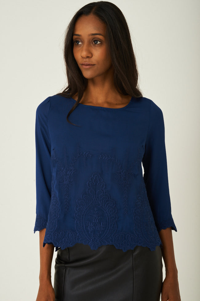Blue Top with Embroidery Detail-Fabulous Bargains Galore