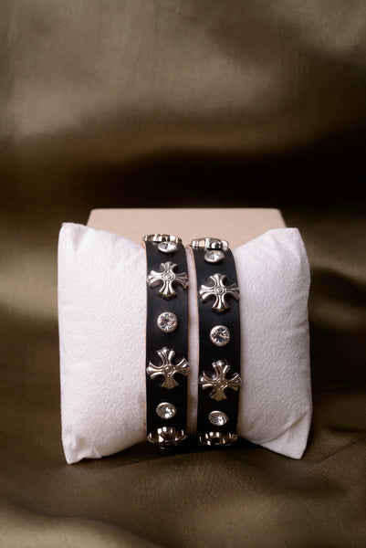 Vintage Inspired Black Leather Cross Bracelet