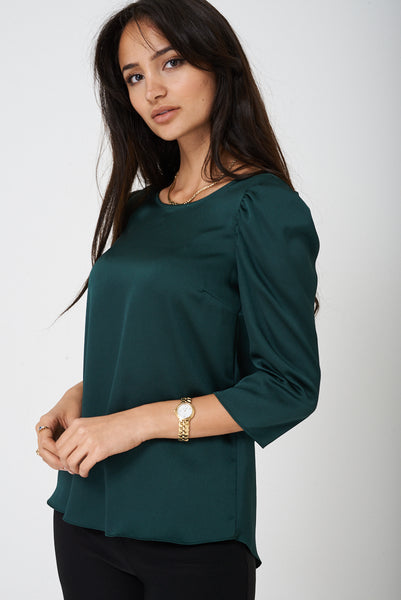 Green Silk Top Ex Brand