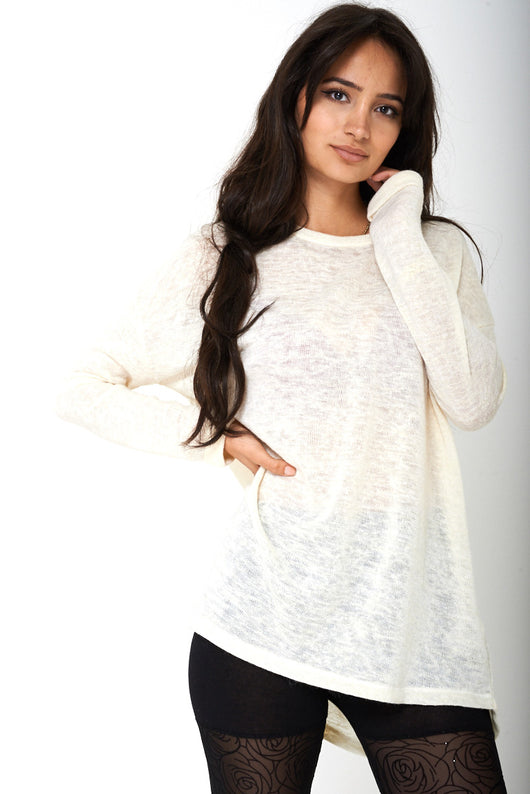 BIK BOK Drop Shoulder Jumper in Cream - Fabulous Bargains Galore