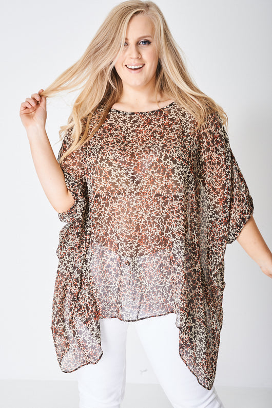 PLUS Sheer Top with Moon Hemline-Fabulous Bargains Galore