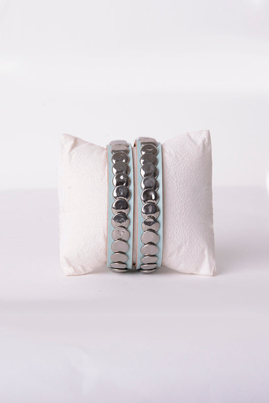 Leather Stud Bracelet in Blue-Fabulous Bargains Galore