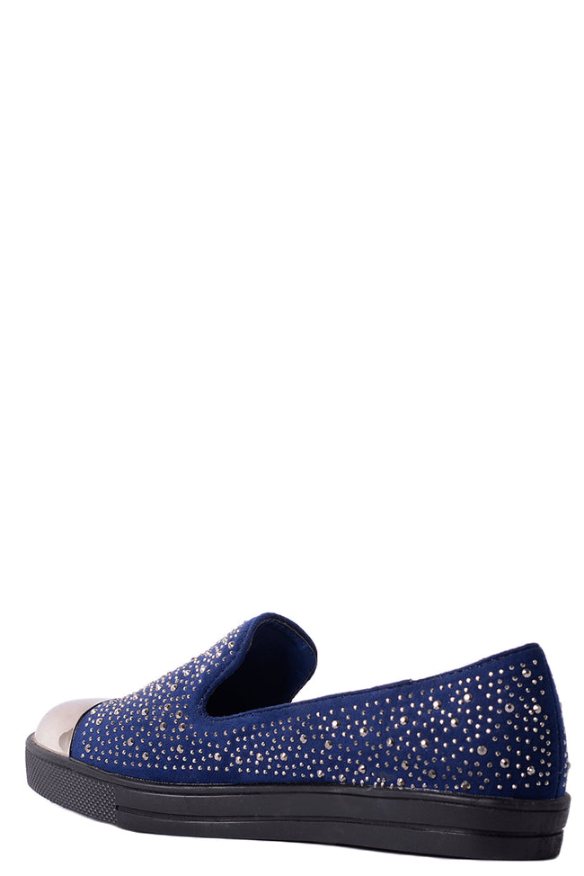 Mirror-Toe Embellished Plimsolls in Navy-Fabulous Bargains Galore