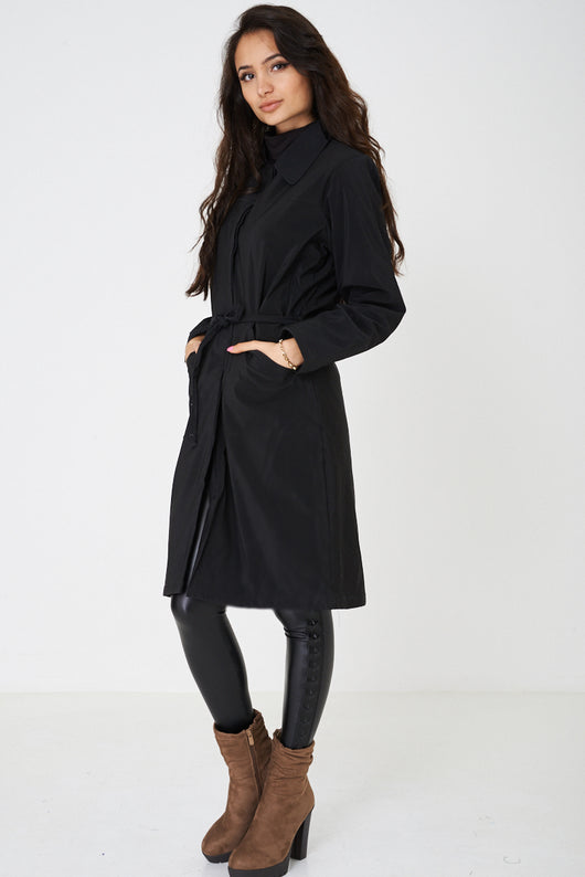 Black Knee Length Coat-Fabulous Bargains Galore