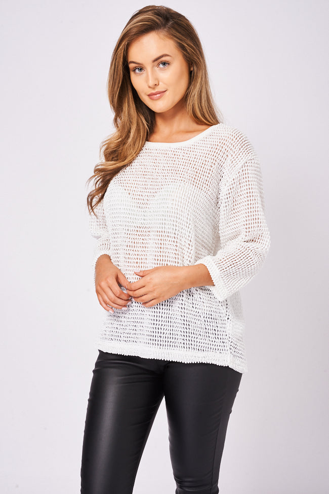 BIK BOK Off White Knitted Top-Fabulous Bargains Galore
