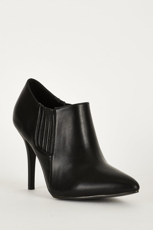 Stretch Panel Pointed Toe Synthetic Leather Ankle Boots-Fabulous Bargains Galore