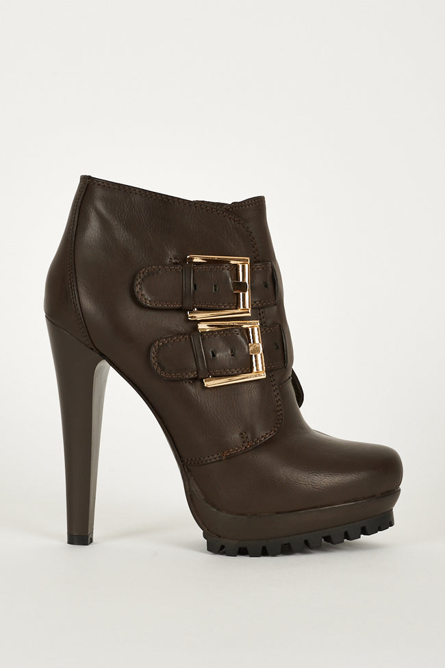 Boots With Strap Buckle And Zip Up Details-Fabulous Bargains Galore