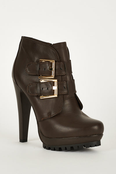 Boots With Strap Buckle And Zip Up Details