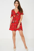 Red Sun Dress In Vintage Floral Ex Brand-Fabulous Bargains Galore