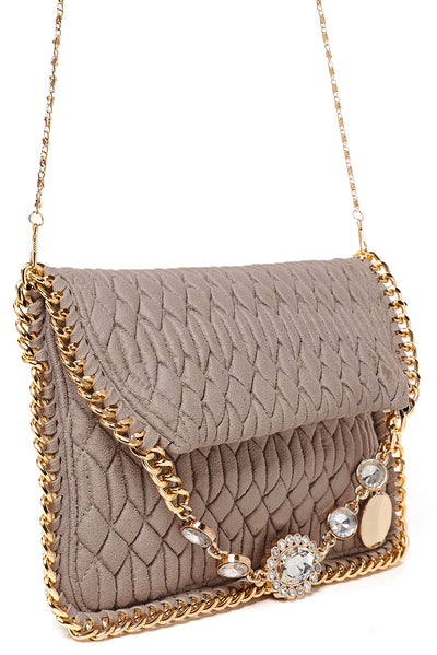 Embellished Quilted Shoulder Bag in Mocha - Fabulous Bargains Galore