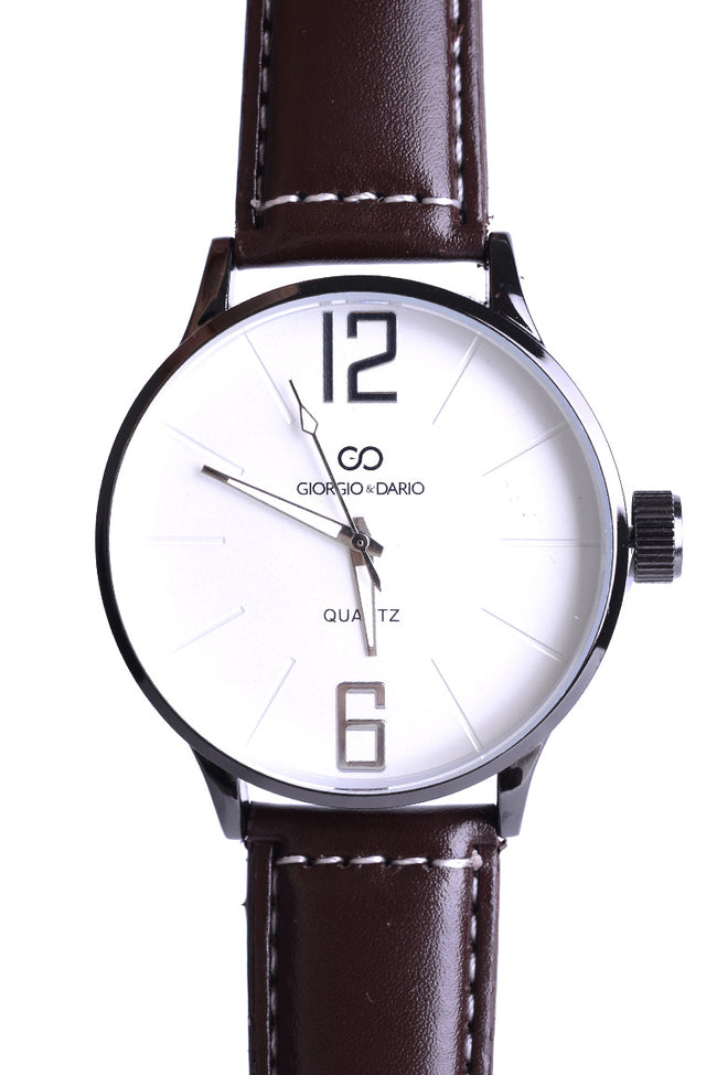 Unisex Faux Leather Classic Watch In Brown-Fabulous Bargains Galore