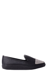 Snakeskin Embellished Plimsolls in Black