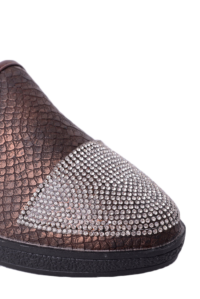 Snakeskin Embellished Plimsolls in Brown-Fabulous Bargains Galore