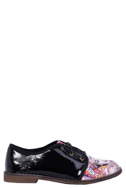Patent Lace Up Flats With Magazine Pattern