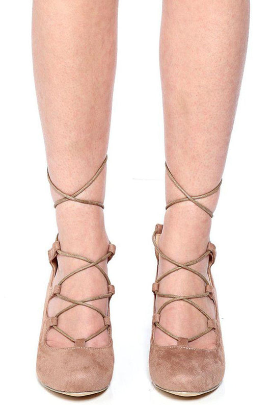 Mocha Lace Up Wedge-Fabulous Bargains Galore