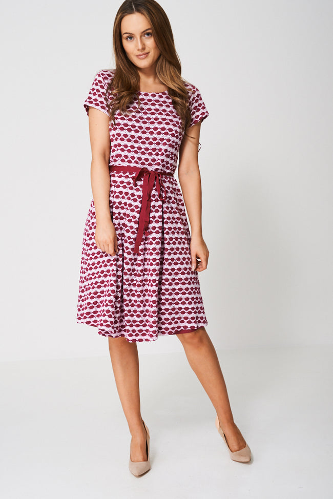 Textured Skater Dress In Dark Cerise-Fabulous Bargains Galore
