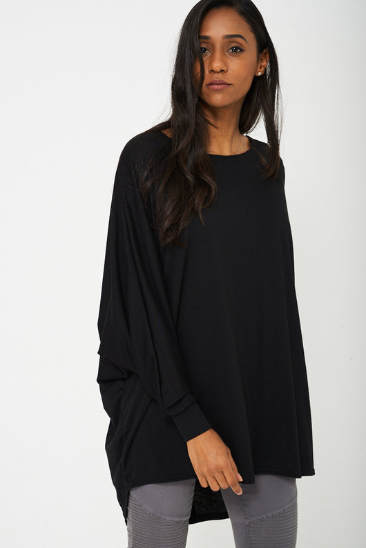 Oversized Tunic Top in Semi Sheer Black-Fabulous Bargains Galore