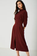 Vintage Burgundy High Neck Dress Ex Brand-Fabulous Bargains Galore