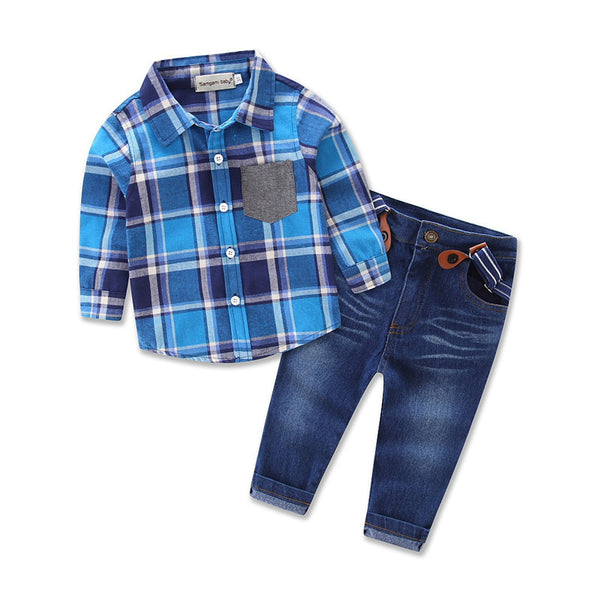 Blue Tartan Check Little Boy Outfits