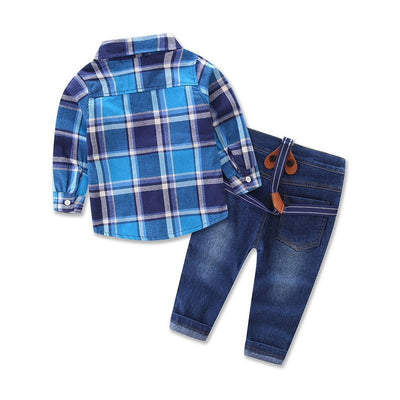 Blue Tartan Check Little Boy Outfits-Fabulous Bargains Galore