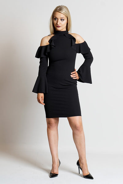 Black Choker Frill Overlay 3/4 Sleeves Womens Dress