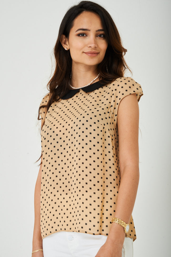 Printed Chiffon Top in Beige-Fabulous Bargains Galore