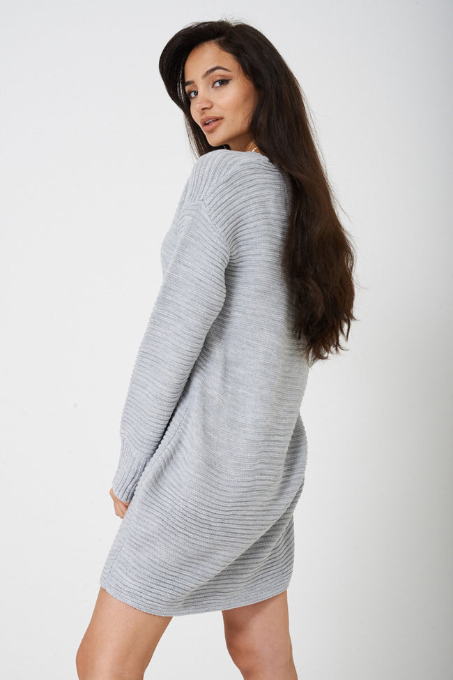 Ribbed Knit Dress in Grey Ex Brand-Fabulous Bargains Galore