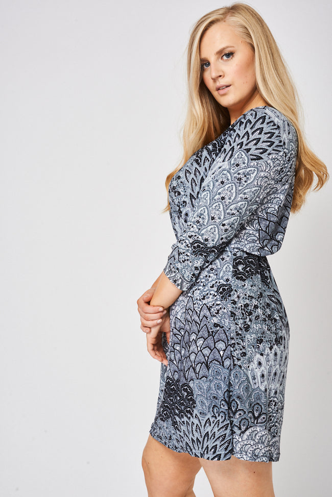 Abstract Pattern Midi Dress-Fabulous Bargains Galore