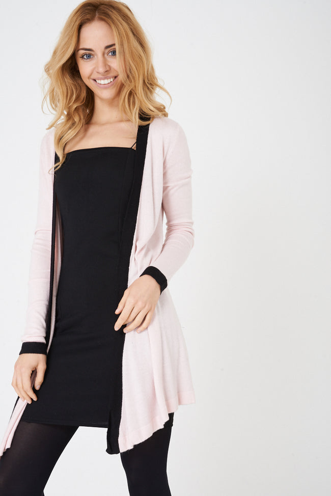 Long Open Front Knitted Cardigan in Pink-Fabulous Bargains Galore