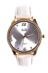Diamante Embellished Watch In Cream