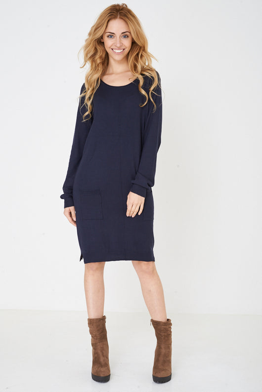 Knitted Dress in Navy Ex Brand-Fabulous Bargains Galore