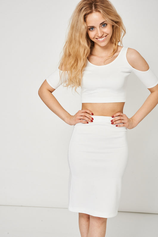 Off White Scuba Crop And Skirt Set - Fabulous Bargains Galore