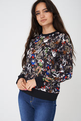 Cartoon Print Distressed Jumper in Black